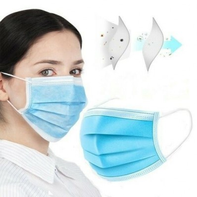 Face mask disposable blue 3 layers PACK OF 50