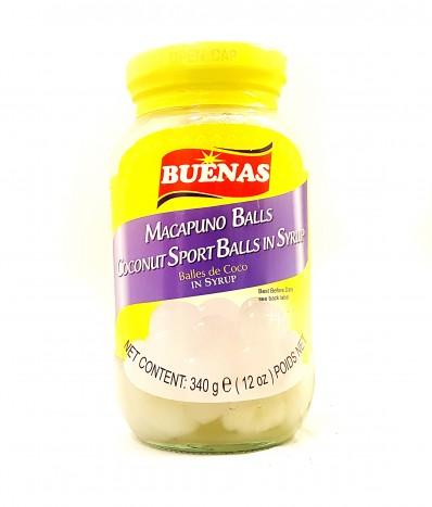 BUENAS Macapuno Balls - Coconut Sport Balls in Syrup 340g