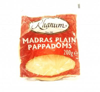 KHANUM Madras Plain Pappadoms 200g
