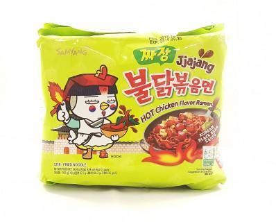 SAMYANG Jjajang Hot Chicken Flavour Ramen (five 140g packs) 700g